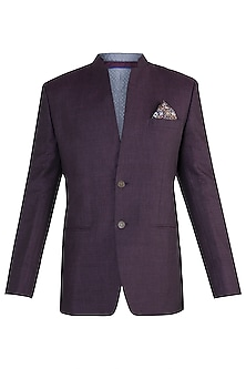 Wine bandhgala jacket by Bubber Couture