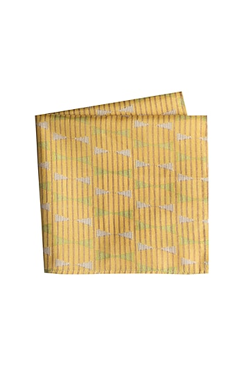 Yellow & Green Printed Pocket Square by Bubber Couture