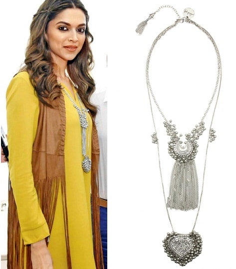 Silver plated crescent and paan motif double chain necklace by Ritika Sachdeva