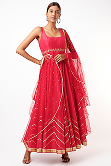 Crimson Embroidered Anarkali Set by Cedar and Pine-POPULAR PRODUCTS AT STORE