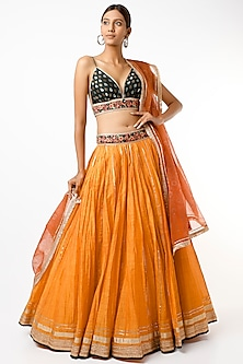 Orange Embroidered Hand-Crinkled Lehenga Set by Cedar and Pine-POPULAR PRODUCTS AT STORE