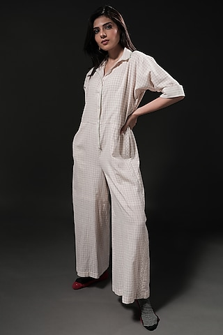 Ivory Printed Jumpsuit by Casa9