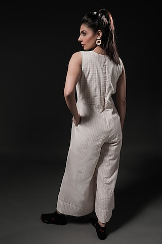 Ivory Cotton Printed Jumpsuit by Casa9