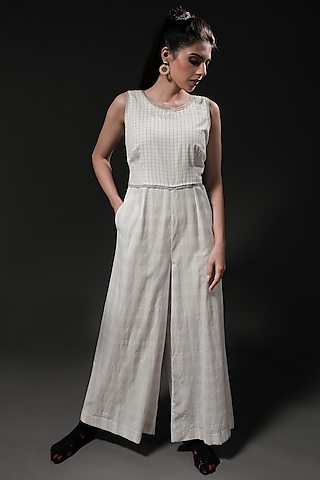 Ivory Handwoven Cotton Printed Jumpsuit by Casa9