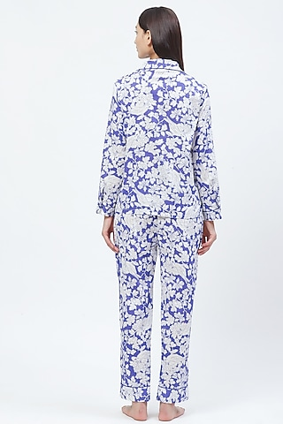 Blue Floral Printed Night Suit by CatNap