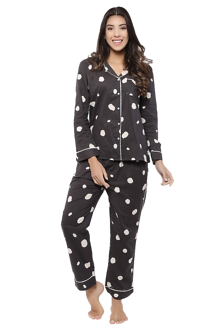 Black Polka Dotted Night Suit by CatNap