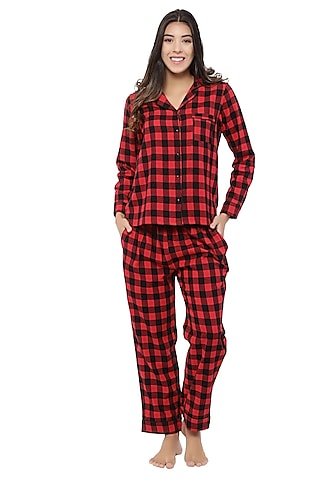 Red Cotton Night Suit by CatNap