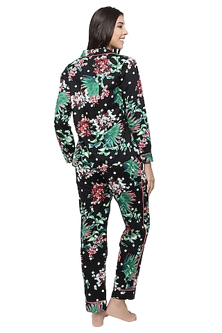 Black & Green Floral Printed Night Suit by CatNap