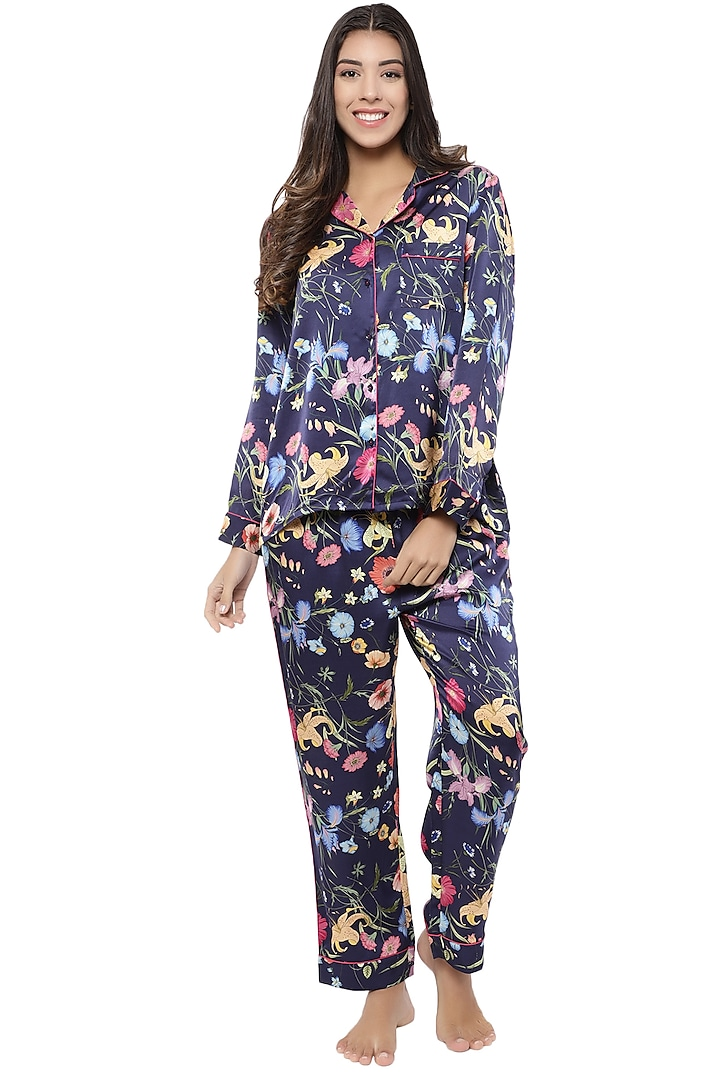 Midnight Blue Printed Night Suit by CatNap