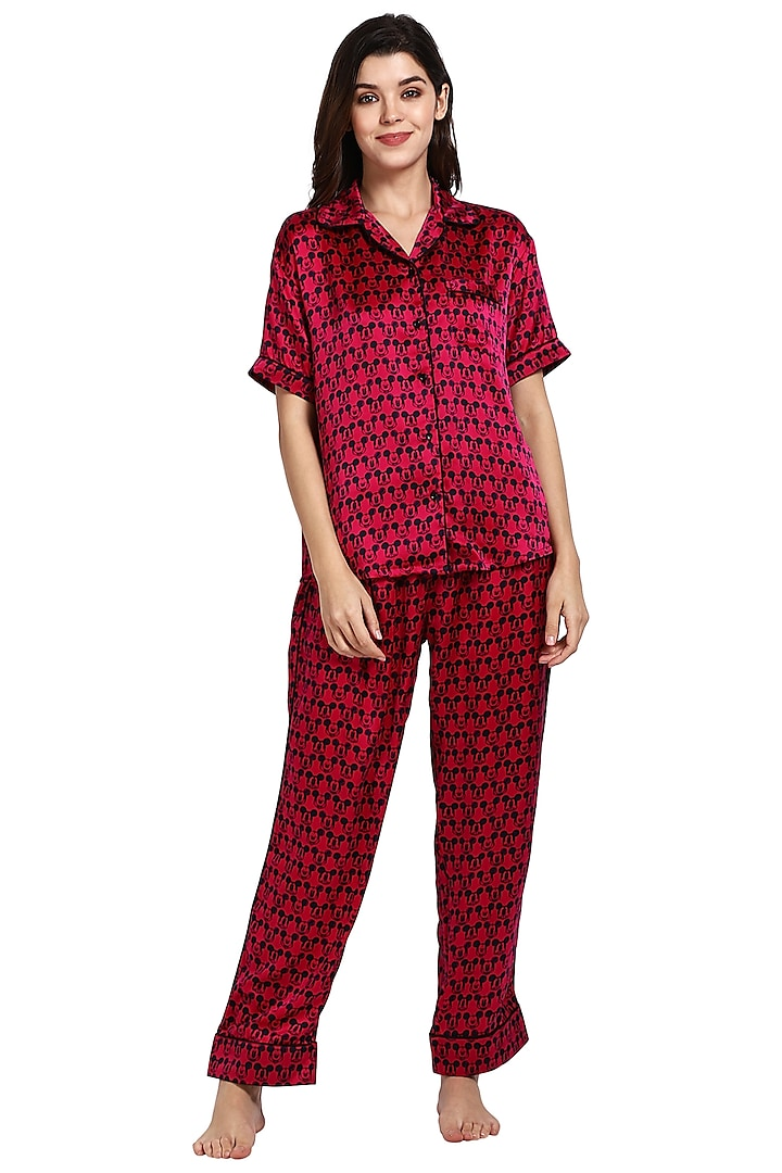 Red Printed Night Suit by CatNap