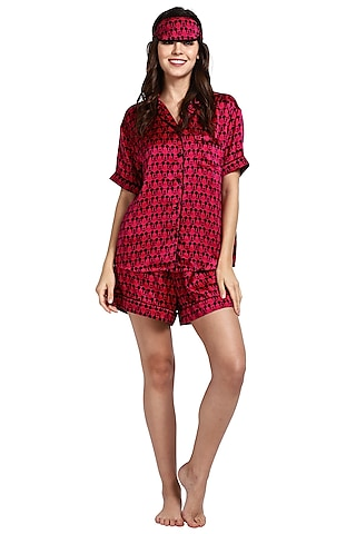 Red Mulberry Silk Printed Night Suit by CatNap