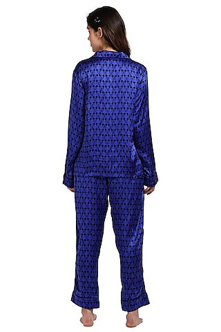 Blue Printed Night Suit by CatNap