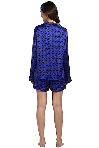 Blue Mulberry Silk Printed Night Suit by CatNap