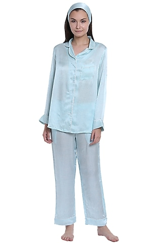 Powder Blue Printed Night Suit by CatNap
