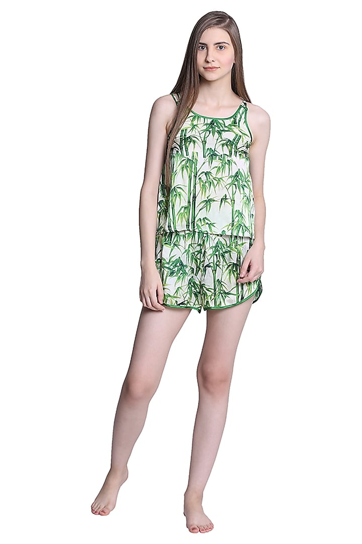Green Printed Night Suit by CatNap