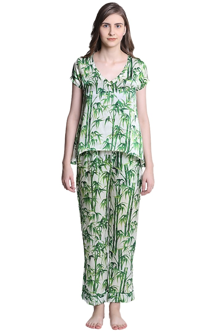 Green Mulberry Silk Printed Night Suit by CatNap