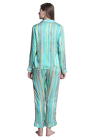 Green Mulberry Silk Printed Striped Night Suit by CatNap