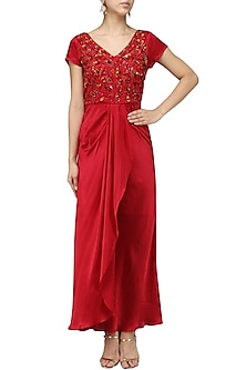 Red Embroidered Gown by Chandan Allen