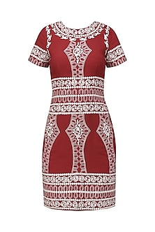 Red and White Embroidered Dress by Chandan Allen
