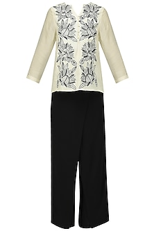 Off White Embroidered Top with Palazzo Pants Set by Chandan Allen