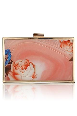 Peach Floral Motif Digital Print Clutch by RASEEL AT CASAPOP