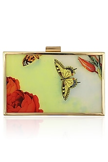 Multicolor Flower and Butterfly Digital Print Clutch by RASEEL AT CASAPOP