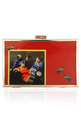 Red Conversational Print Clutch by RASEEL AT CASAPOP