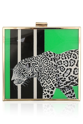 Green Cheetah Motif Digital Print Clutch by RASEEL AT CASAPOP