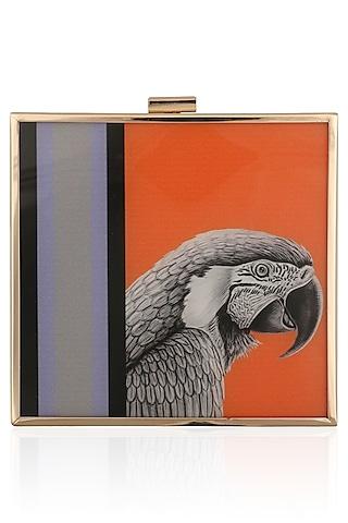 Orange Eagle Motif Digital Print Clutch by RASEEL AT CASAPOP