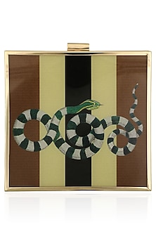 Brown Snake Motif Digital Print Clutch by RASEEL AT CASAPOP