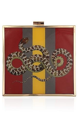Red Snake Motif Digital Print Clutch by RASEEL AT CASAPOP