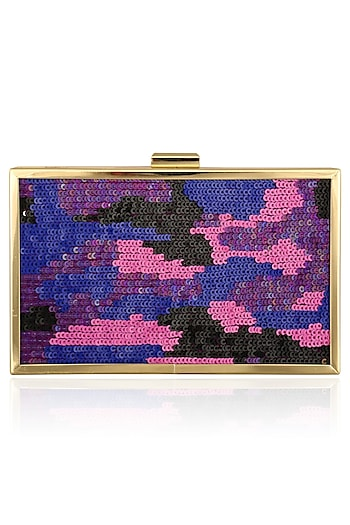 Purple Ombre Sequins Work Clutch by RASEEL AT CASAPOP