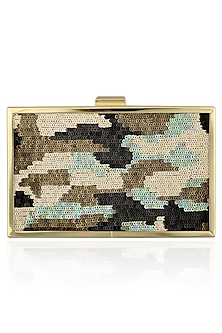 Beige Sequins Work Clutch by RASEEL AT CASAPOP