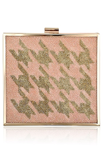 Peach Abstract Sequins Work Clutch by RASEEL AT CASAPOP