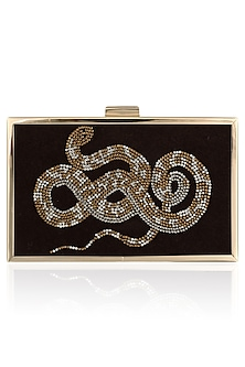 Brown Snake Motif Crystal Work Clutch by RASEEL AT CASAPOP