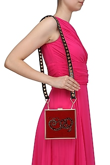 Red Snake Motif Crystal Work Clutch by RASEEL AT CASAPOP