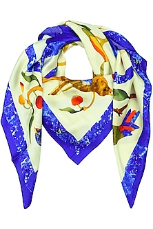 White Bird Motif Digitl Print Scarf by RASEEL AT CASAPOP
