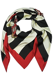 White And Black Digital Snake Motif Scarf by RASEEL AT CASAPOP