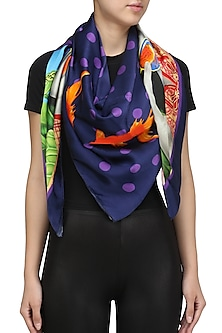 Purple Striped Conversational Digital Print Scarf by RASEEL AT CASAPOP