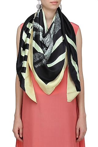 Off White Striped Digital Elephant Motif Scarf by RASEEL AT CASAPOP