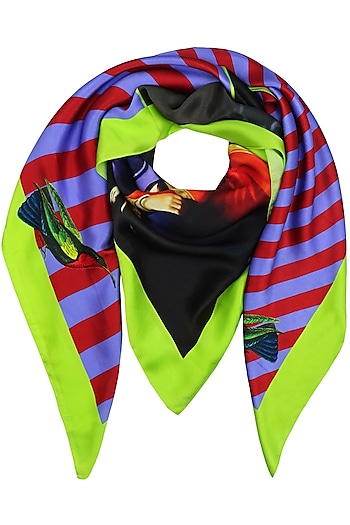 Lime Striped Conversational Digital Print Scarf by RASEEL AT CASAPOP