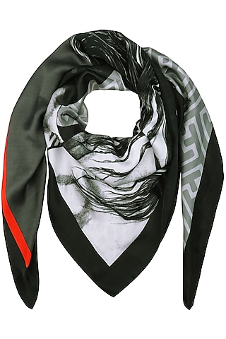 Black Striped Digital Horse Motif Scarf by RASEEL AT CASAPOP