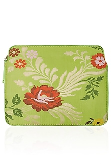 Lime Hand Woven Floral Pattern Ipad Sleeve by RASEEL AT CASAPOP