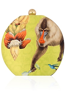 Yellow Monkey Print Round Box Clutch by RASEEL AT CASAPOP