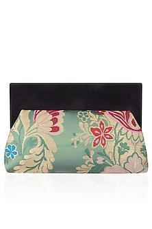 Teal and Black Floral Pattern Pouch Clutch Bag by RASEEL AT CASAPOP