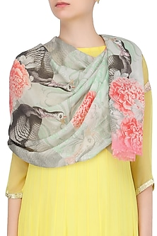 Mint and Pink Return To Paradise Scarf by RASEEL AT CASAPOP