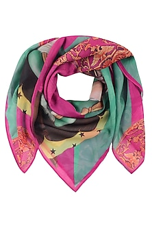 Green and Pink Ester Egg Hunt Scarf by RASEEL AT CASAPOP