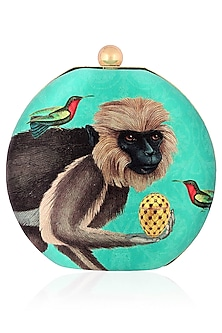 Green Monkey Print Round Box Clutch by RASEEL AT CASAPOP