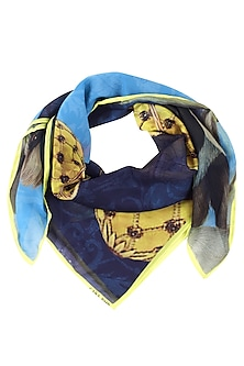Dark Blue and Gold Easter Egg Hunt Scarf by RASEEL AT CASAPOP