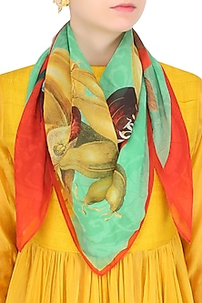 Red and Green Easter Egg Hunt Scarf by RASEEL AT CASAPOP